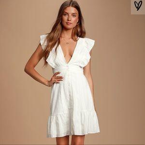 White Swiss Dot Button-Front Mini dress
